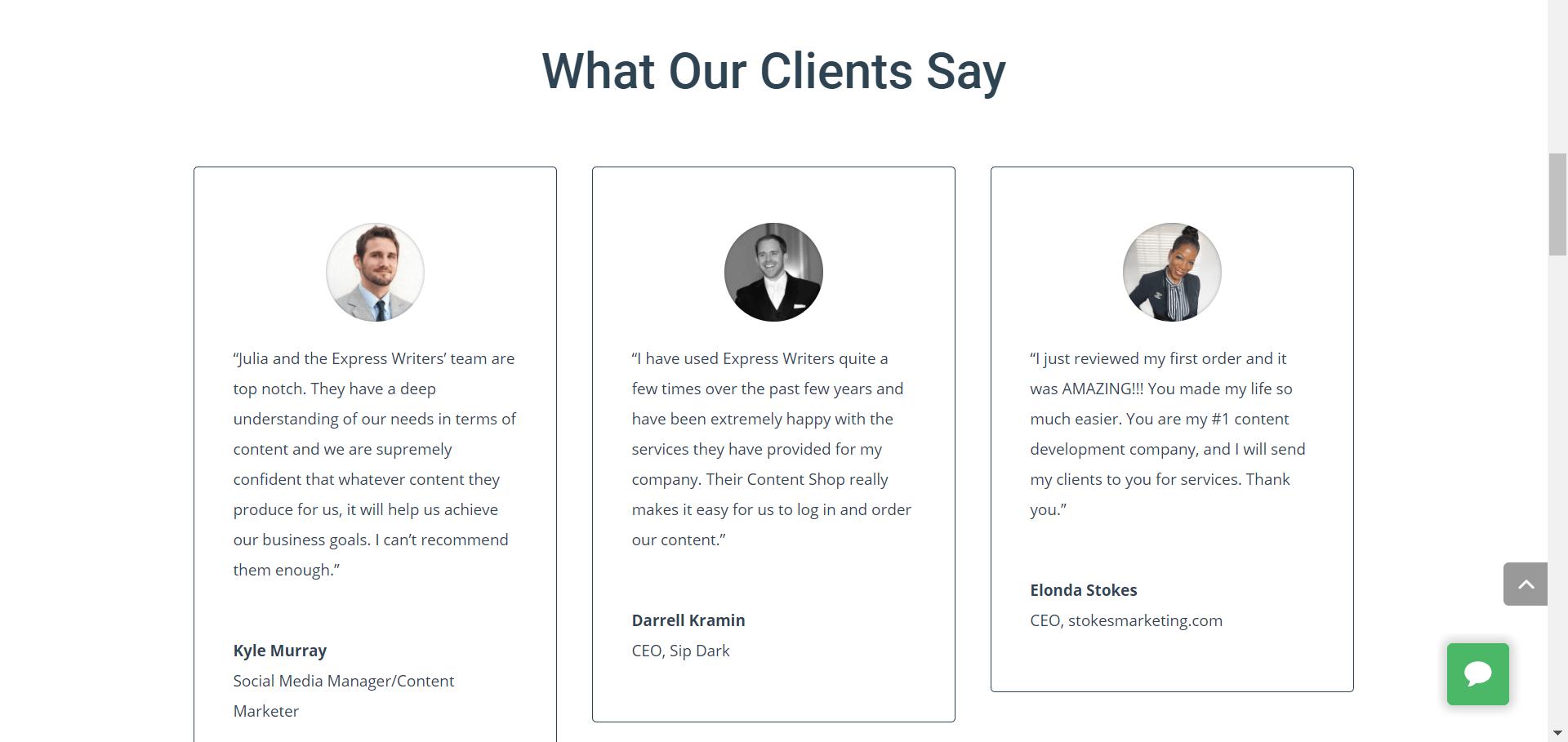 testimonio de clientes