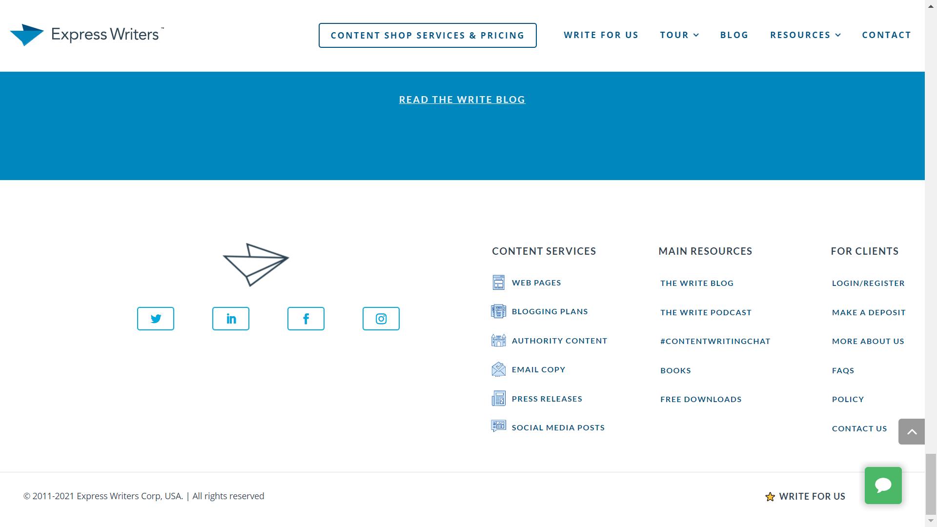 pie de sitio web